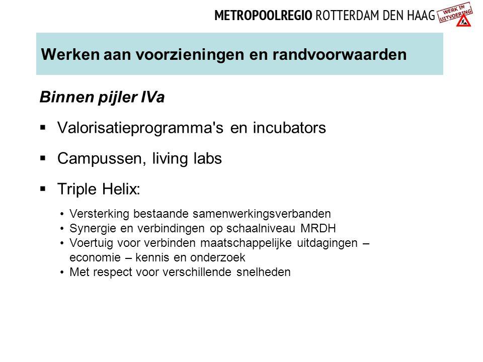 Werken aan voorzieningen en randvoorwaarden Binnen pijler IVa  Valorisatieprogramma's en incubators  Campussen, living labs  Triple Helix: Versterk