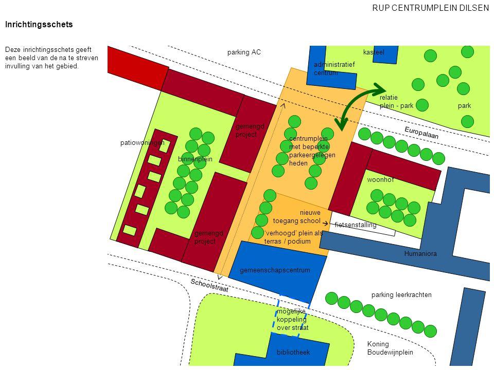 patiowoningen woonhof kasteel Humaniora Europalaan gemeenschapscentrum administratief centrum parking AC parking leerkrachten Koning Boudewijnplein Sc