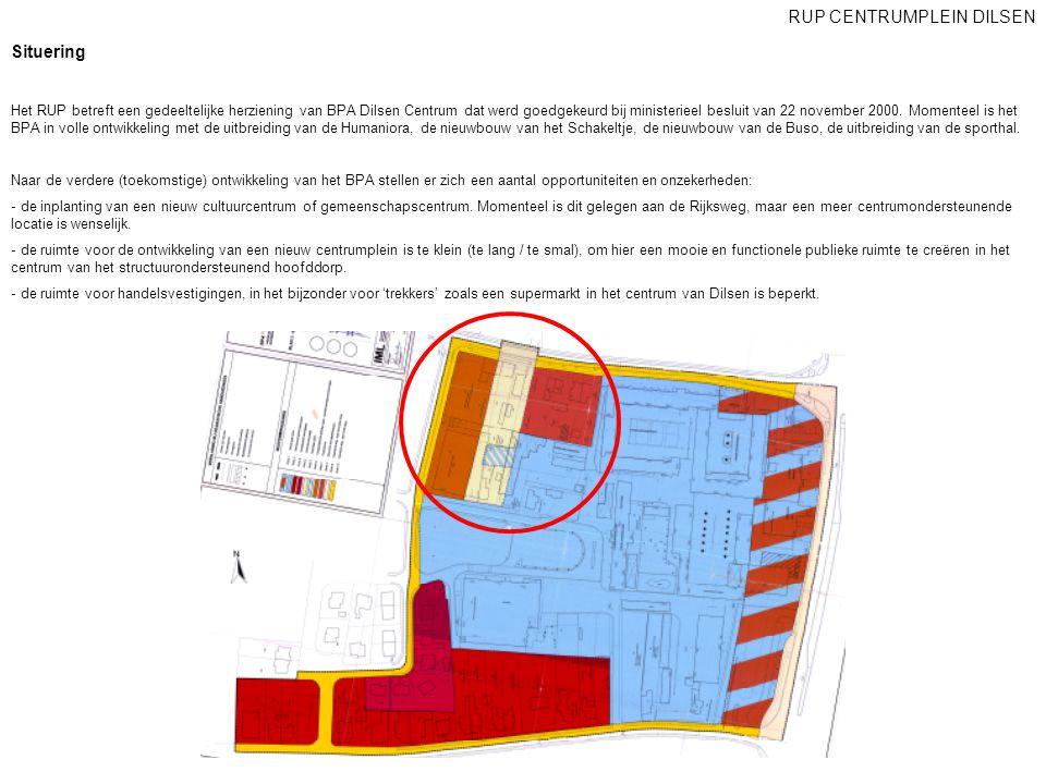 Situering Het RUP betreft een gedeeltelijke herziening van BPA Dilsen Centrum dat werd goedgekeurd bij ministerieel besluit van 22 november 2000. Mome