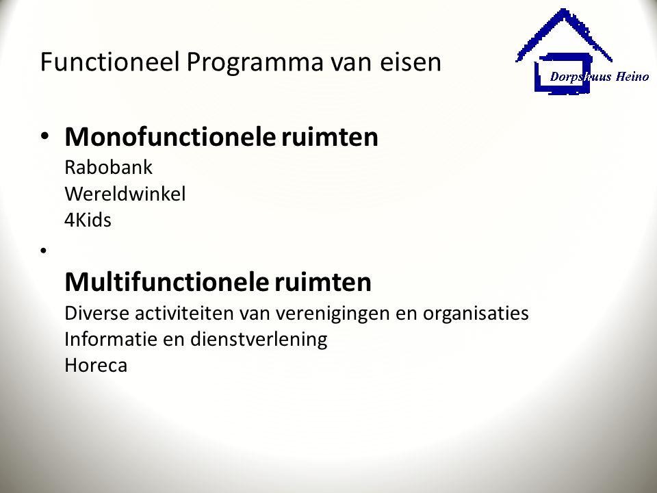 Functioneel Programma van eisen Monofunctionele ruimten Rabobank Wereldwinkel 4Kids Multifunctionele ruimten Diverse activiteiten van verenigingen en
