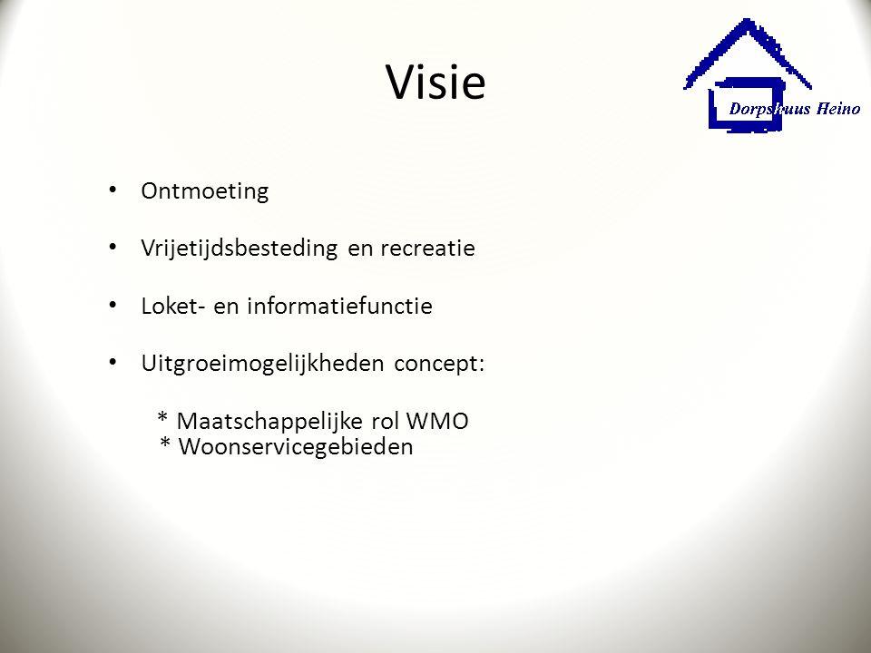 Visie Ontmoeting Vrijetijdsbesteding en recreatie Loket- en informatiefunctie Uitgroeimogelijkheden concept: * Maatschappelijke rol WMO * Woonserviceg