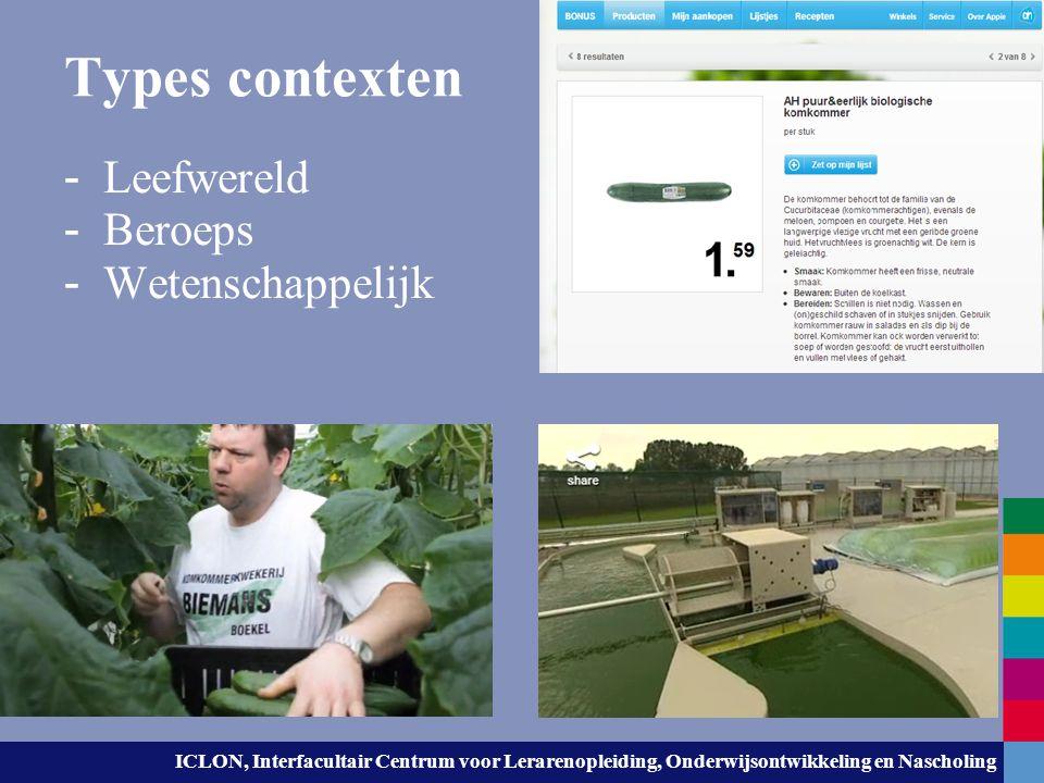 ICLON, Interfacultair Centrum voor Lerarenopleiding, Onderwijsontwikkeling en Nascholing Voorbeeldcontext komkommerteler; - http://www.nederlandbloeit.nl/dossier/Voedsel/1071 2735/Kijkje-bij-komkommerteler/recreatie http://www.nederlandbloeit.nl/dossier/Voedsel/1071 2735/Kijkje-bij-komkommerteler/recreatie (tot 4 min laten zien) Welke concepten komen – direct of indirect – aan bod.