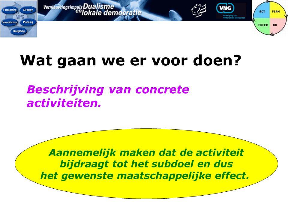 Wat gaan we er voor doen. Beschrijving van concrete activiteiten.