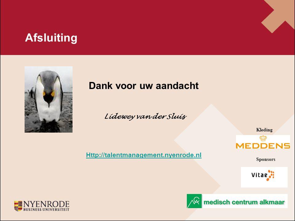 Afsluiting Dank voor uw aandacht Lidewey van der Sluis Http://talentmanagement.nyenrode.nl Kleding Sponsors