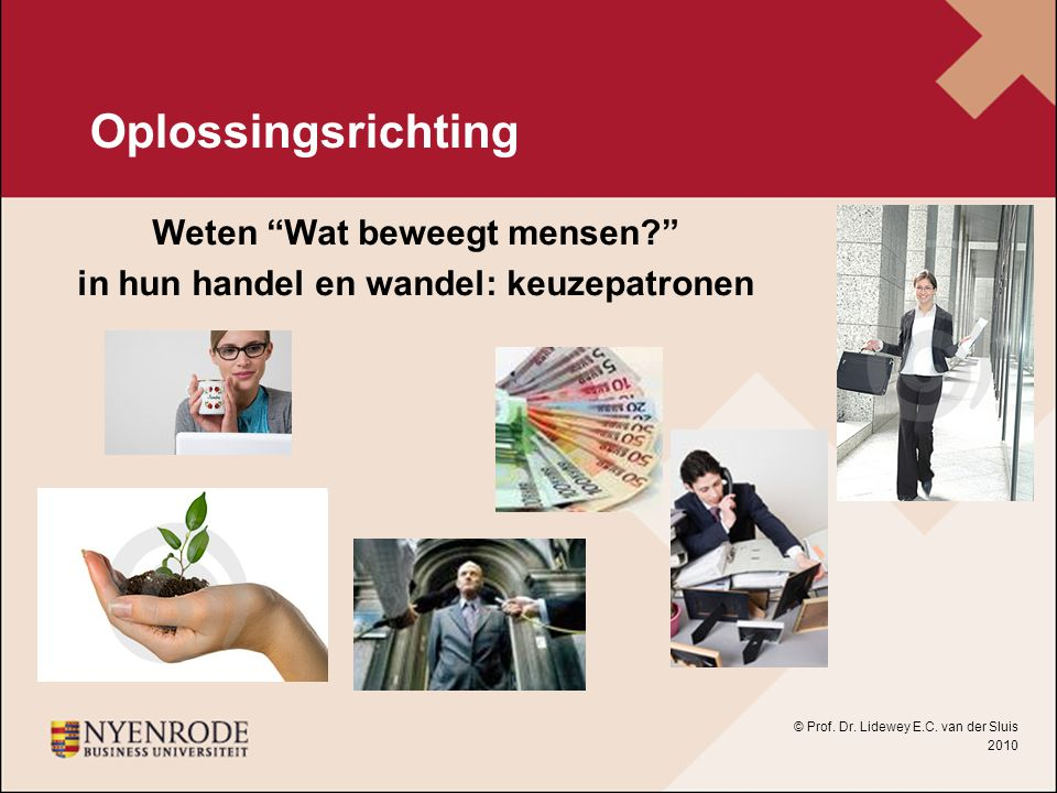 """Oplossingsrichting Weten """"Wat beweegt mensen?"""" in hun handel en wandel: keuzepatronen © Prof. Dr. Lidewey E.C. van der Sluis 2010"""