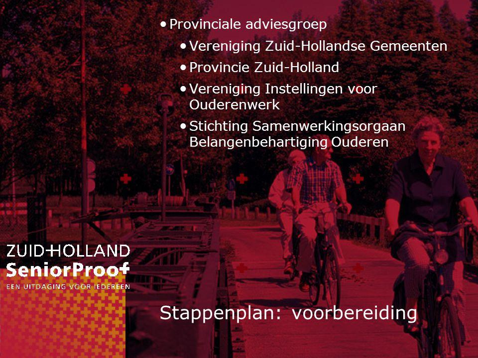 Stappenplan: voorbereiding Provinciale adviesgroep Vereniging Zuid-Hollandse Gemeenten Provincie Zuid-Holland Vereniging Instellingen voor Ouderenwerk Stichting Samenwerkingsorgaan Belangenbehartiging Ouderen