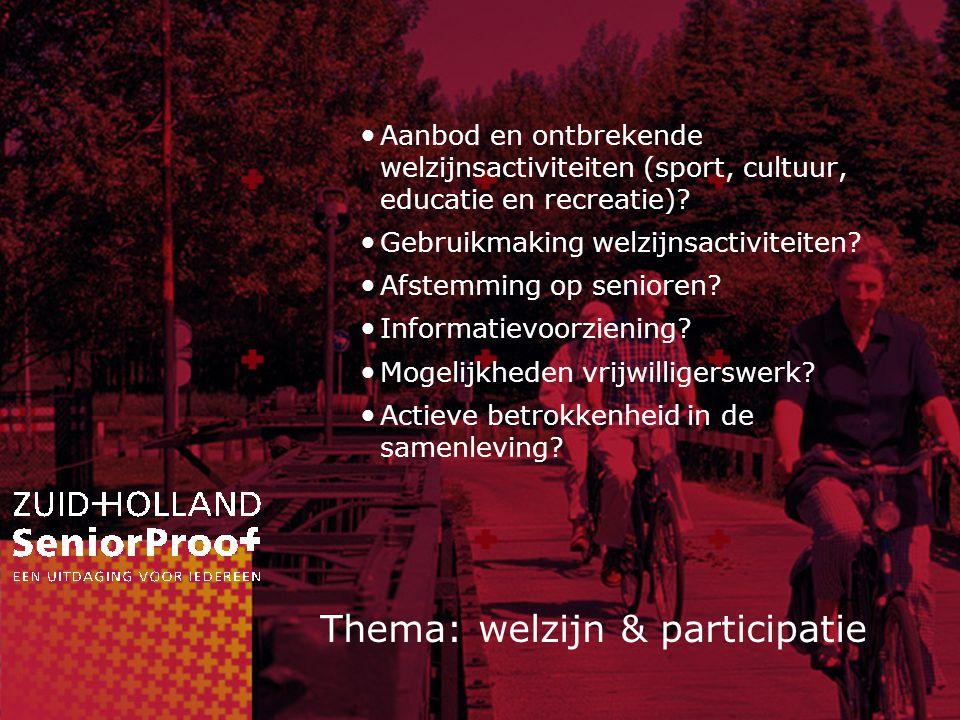 Thema: welzijn & participatie Aanbod en ontbrekende welzijnsactiviteiten (sport, cultuur, educatie en recreatie).