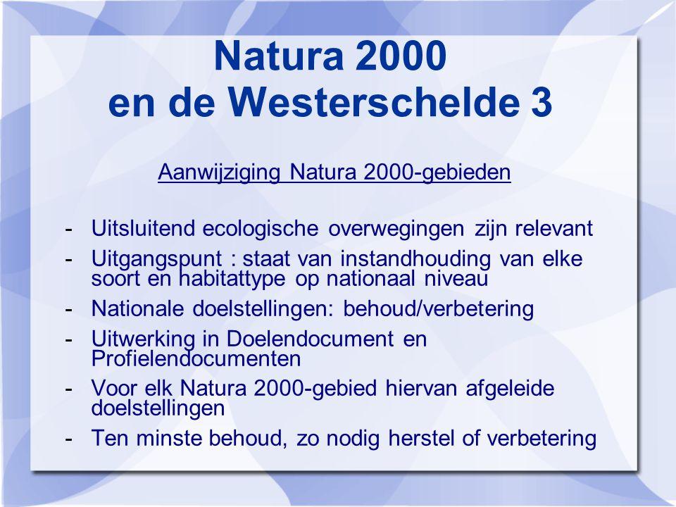 Natura 2000 en de Westerschelde 3 Aanwijziging Natura 2000-gebieden -Uitsluitend ecologische overwegingen zijn relevant -Uitgangspunt : staat van instandhouding van elke soort en habitattype op nationaal niveau -Nationale doelstellingen: behoud/verbetering -Uitwerking in Doelendocument en Profielendocumenten -Voor elk Natura 2000-gebied hiervan afgeleide doelstellingen -Ten minste behoud, zo nodig herstel of verbetering