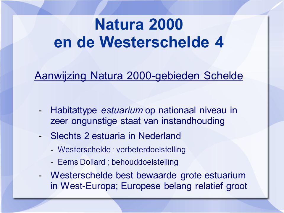 Natura 2000 en de Westerschelde 4 Aanwijzing Natura 2000-gebieden Schelde -Habitattype estuarium op nationaal niveau in zeer ongunstige staat van instandhouding -Slechts 2 estuaria in Nederland -Westerschelde : verbeterdoelstelling -Eems Dollard ; behouddoelstelling -Westerschelde best bewaarde grote estuarium in West-Europa; Europese belang relatief groot