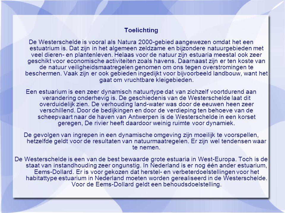 Toelichting De Westerschelde is vooral als Natura 2000-gebied aangewezen omdat het een estuatrium is.