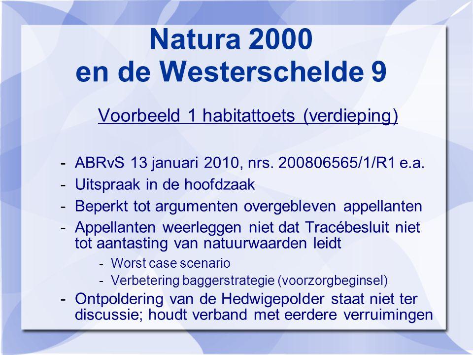 Natura 2000 en de Westerschelde 9 Voorbeeld 1 habitattoets (verdieping) -ABRvS 13 januari 2010, nrs.