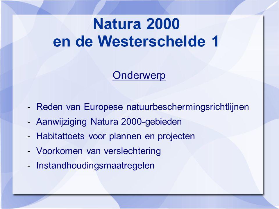 Natura 2000 en de Westerschelde 1 Onderwerp -Reden van Europese natuurbeschermingsrichtlijnen -Aanwijziging Natura 2000-gebieden -Habitattoets voor plannen en projecten -Voorkomen van verslechtering -Instandhoudingsmaatregelen