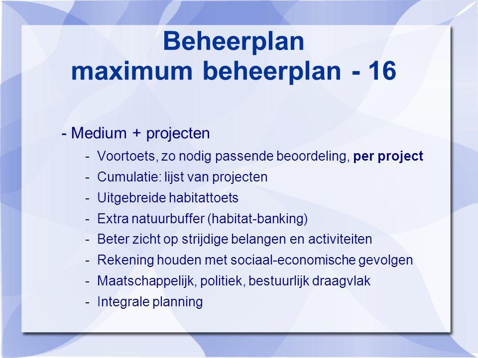 Beheerplan maximum beheerplan - 16 - Medium + projecten -Voortoets, zo nodig passende beoordeling, per project -Cumulatie: lijst van projecten -Uitgebreide habitattoets -Extra natuurbuffer (habitat-banking) -Beter zicht op strijdige belangen en activiteiten -Rekening houden met sociaal-economische gevolgen -Maatschappelijk, politiek, bestuurlijk draagvlak -Integrale planning