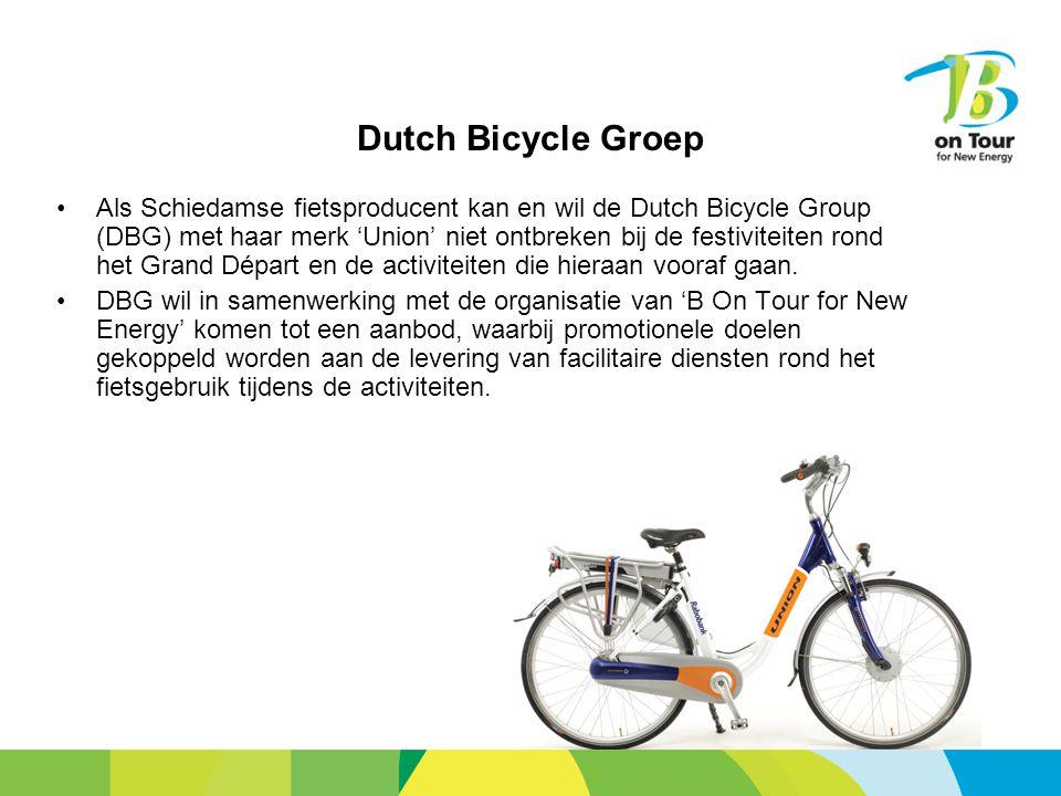 Dutch Bicycle Groep Als Schiedamse fietsproducent kan en wil de Dutch Bicycle Group (DBG) met haar merk 'Union' niet ontbreken bij de festiviteiten rond het Grand Départ en de activiteiten die hieraan vooraf gaan.