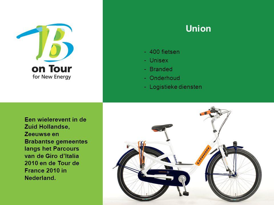 Union - 400 fietsen - Unisex - Branded - Onderhoud - Logistieke diensten Een wielerevent in de Zuid Hollandse, Zeeuwse en Brabantse gemeentes langs het Parcours van de Giro d'Italia 2010 en de Tour de France 2010 in Nederland.