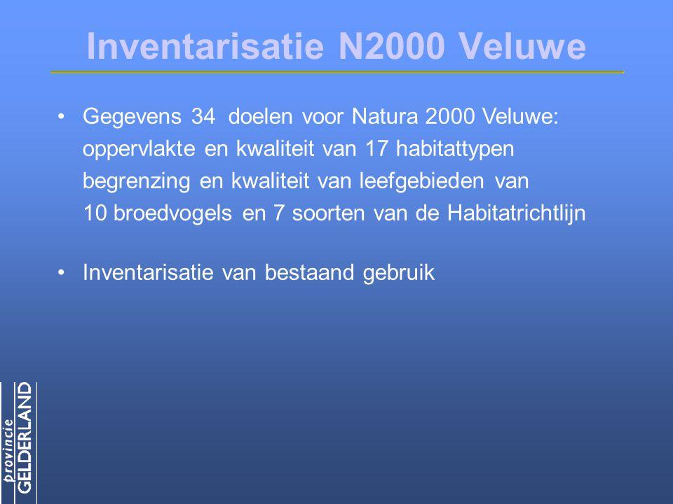 Inventarisatie N2000 Veluwe Gegevens 34 doelen voor Natura 2000 Veluwe: oppervlakte en kwaliteit van 17 habitattypen begrenzing en kwaliteit van leefgebieden van 10 broedvogels en 7 soorten van de Habitatrichtlijn Inventarisatie van bestaand gebruik