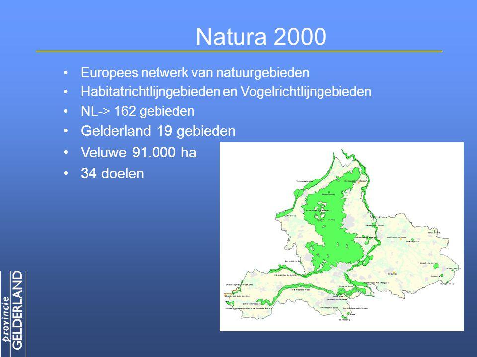 Natura 2000 Europees netwerk van natuurgebieden Habitatrichtlijngebieden en Vogelrichtlijngebieden NL-> 162 gebieden Gelderland 19 gebieden Veluwe 91.000 ha 34 doelen