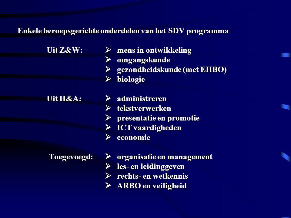 Enkele beroepsgerichte onderdelen van het SDV programma Uit Z&W:  mens in ontwikkeling  omgangskunde  gezondheidskunde (met EHBO)  biologie Uit