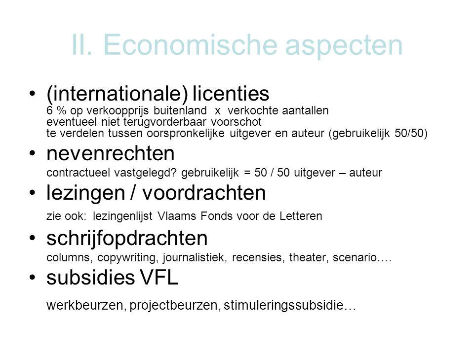 II. Economische aspecten (internationale) licenties 6 % op verkoopprijs buitenland x verkochte aantallen eventueel niet terugvorderbaar voorschot te v