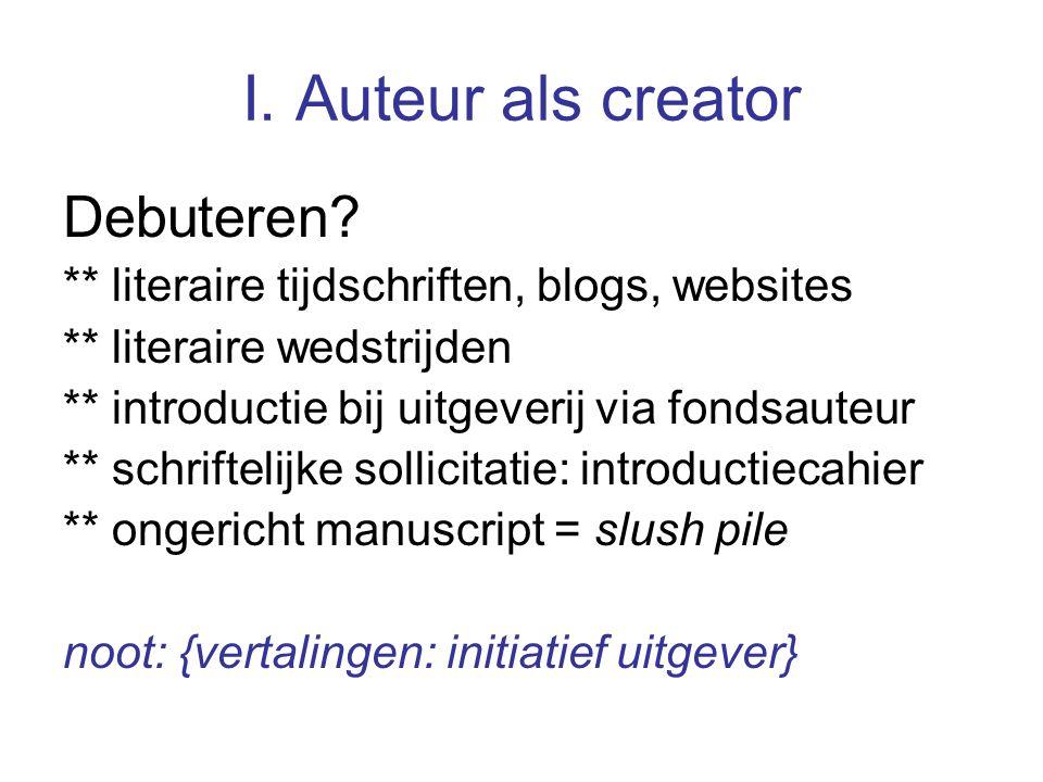 I.Auteur als creator jaarlijks verschijnen ca.