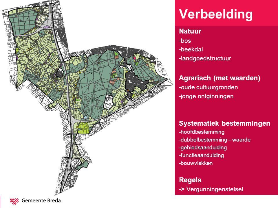 Verbeelding Natuur -bos -beekdal -landgoedstructuur Agrarisch (met waarden) -oude cultuurgronden -jonge ontginningen Systematiek bestemmingen -hoofdbe