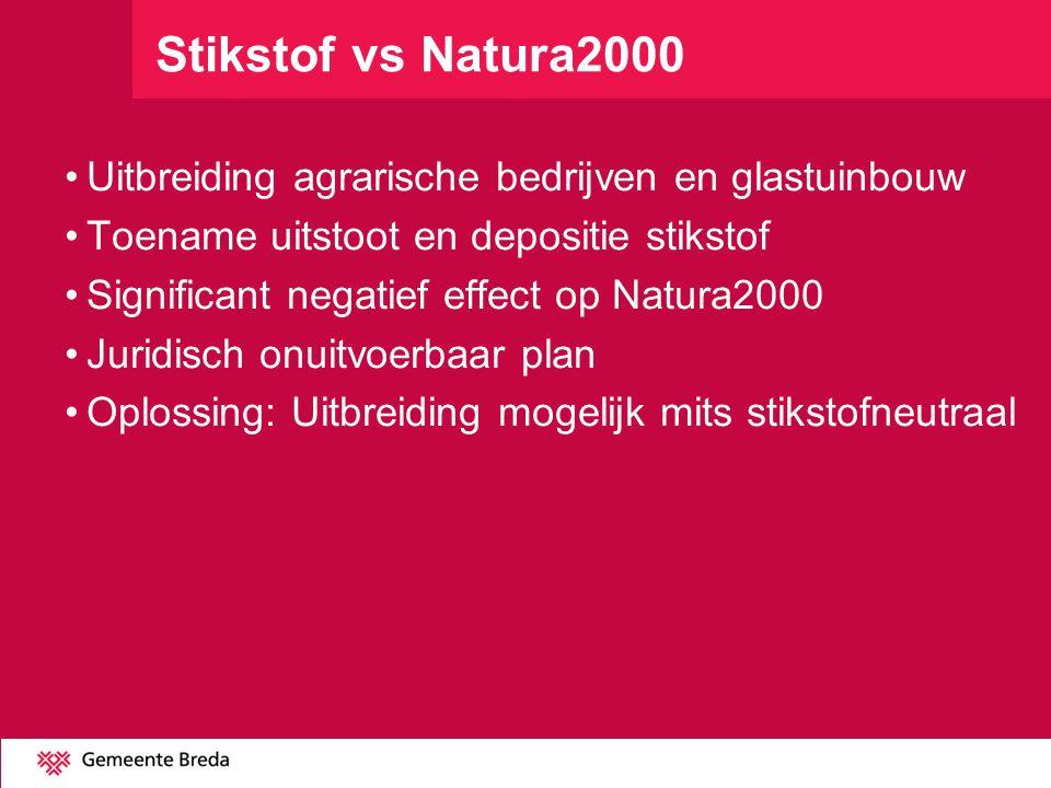 Stikstof vs Natura2000 Uitbreiding agrarische bedrijven en glastuinbouw Toename uitstoot en depositie stikstof Significant negatief effect op Natura20