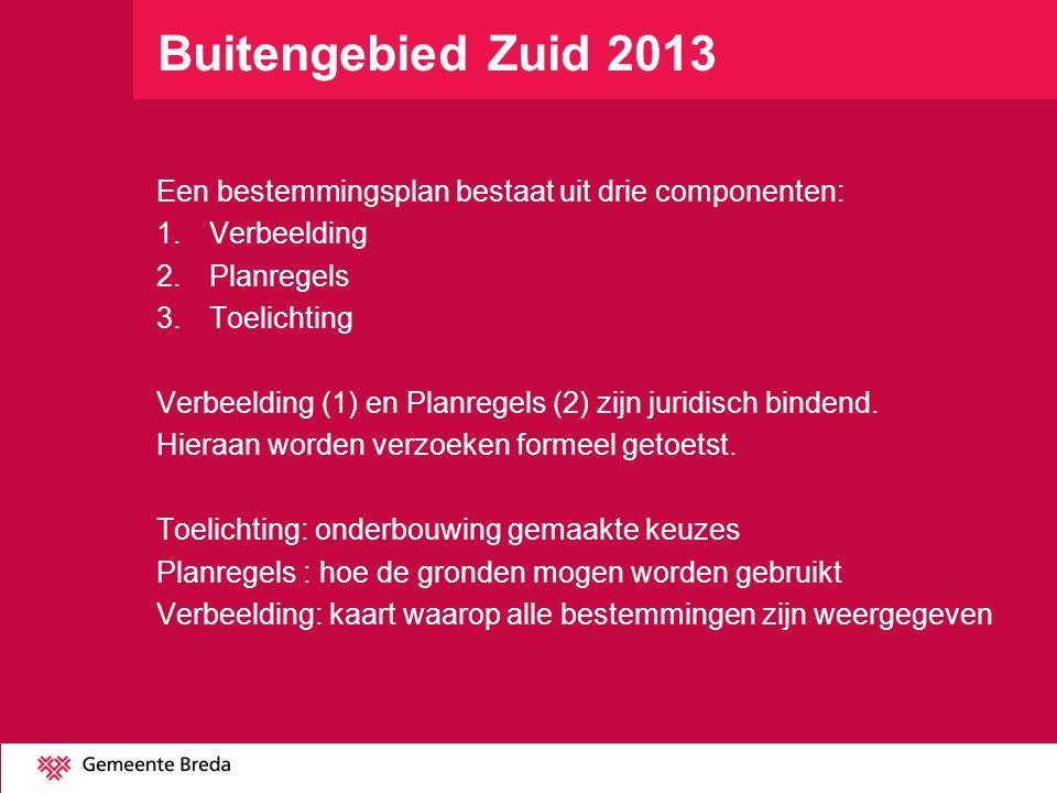 Buitengebied Zuid 2013 Een bestemmingsplan bestaat uit drie componenten: 1.Verbeelding 2.Planregels 3.Toelichting Verbeelding (1) en Planregels (2) zi