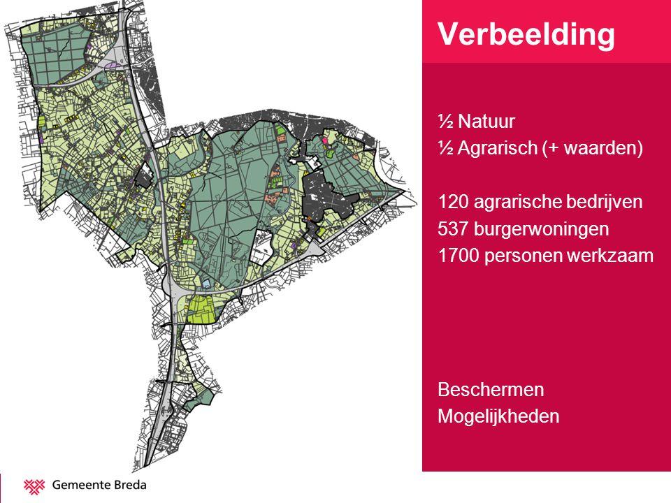 Verbeelding ½ Natuur ½ Agrarisch (+ waarden) 120 agrarische bedrijven 537 burgerwoningen 1700 personen werkzaam Beschermen Mogelijkheden