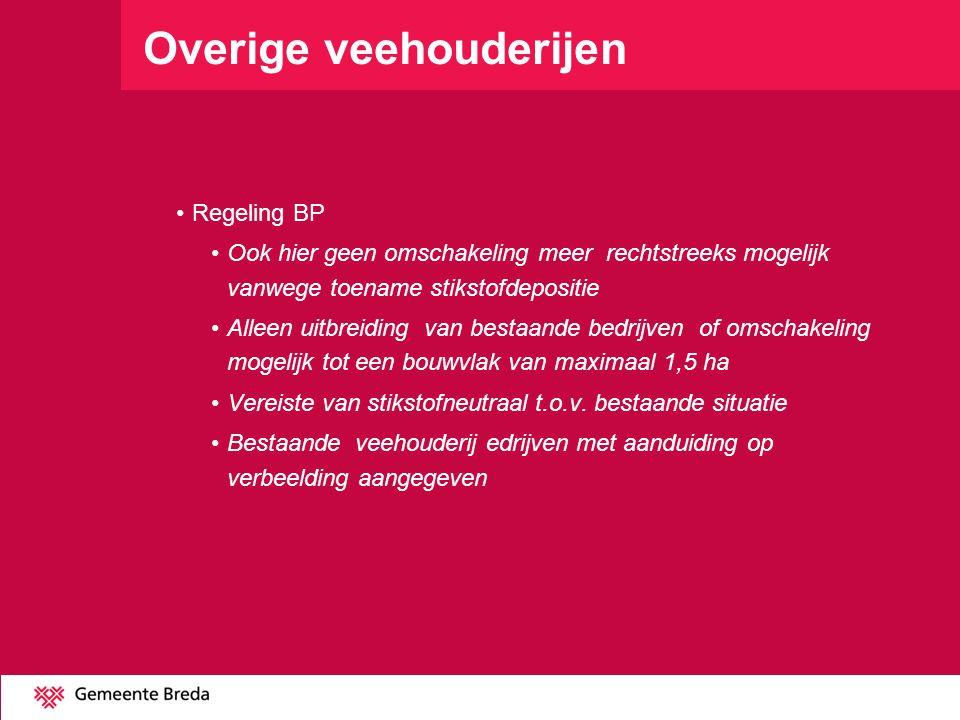 Overige veehouderijen Regeling BP Ook hier geen omschakeling meer rechtstreeks mogelijk vanwege toename stikstofdepositie Alleen uitbreiding van besta