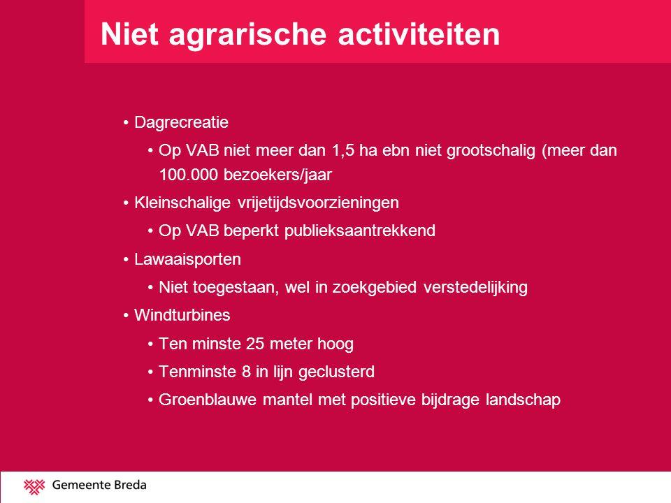 Niet agrarische activiteiten Dagrecreatie Op VAB niet meer dan 1,5 ha ebn niet grootschalig (meer dan 100.000 bezoekers/jaar Kleinschalige vrijetijdsv