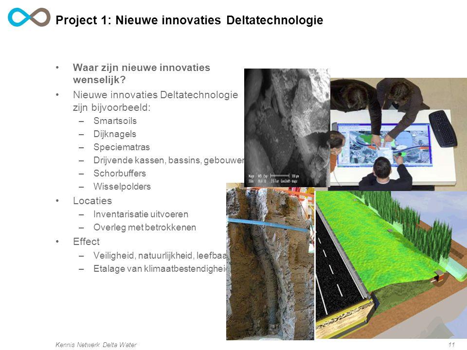 Kennis Netwerk Delta Water11 Project 1: Nieuwe innovaties Deltatechnologie Waar zijn nieuwe innovaties wenselijk.