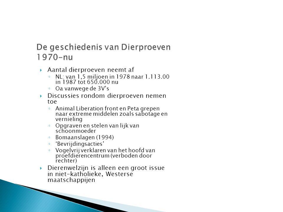  Aantal dierproeven neemt af ◦ NL: van 1,5 miljoen in 1978 naar 1.113.00 in 1987 tot 650.000 nu ◦ Oa vanwege de 3V's  Discussies rondom dierproeven