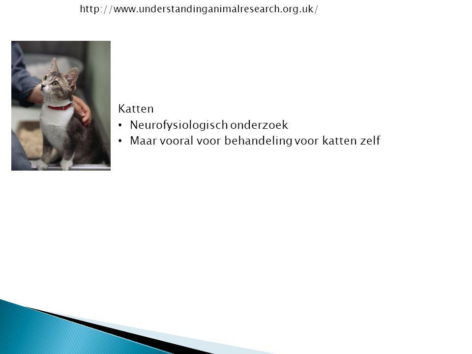 http://www.understandinganimalresearch.org.uk/ Katten Neurofysiologisch onderzoek Maar vooral voor behandeling voor katten zelf
