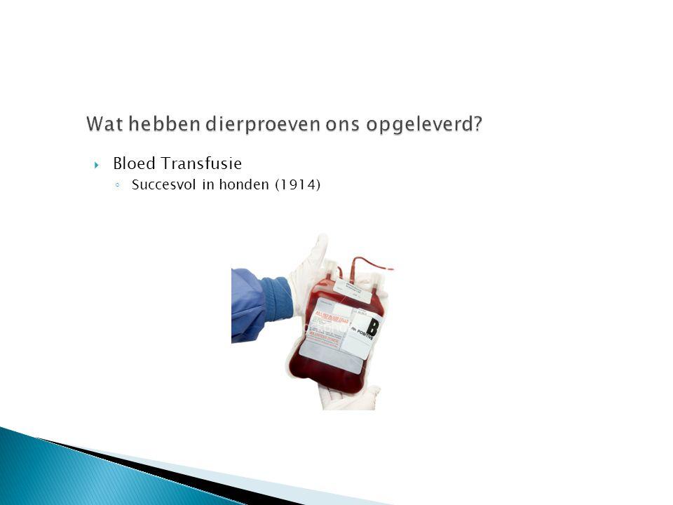  Bloed Transfusie ◦ Succesvol in honden (1914)