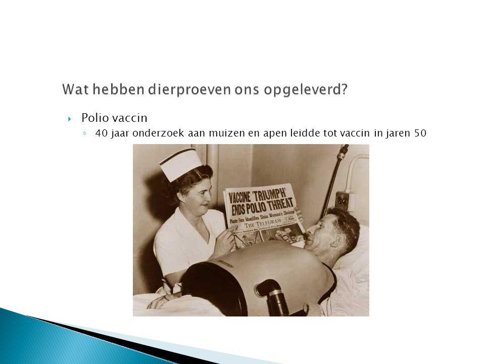  Polio vaccin ◦ 40 jaar onderzoek aan muizen en apen leidde tot vaccin in jaren 50
