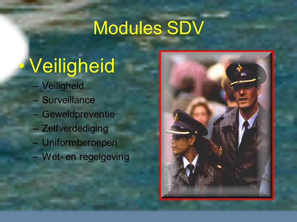 Modules SDV Veiligheid –Veiligheid –Surveillance –Geweldpreventie –Zelfverdediging –Uniformberoepen –Wet- en regelgeving