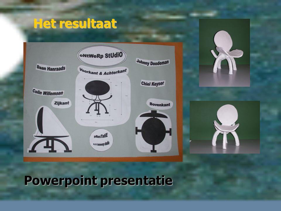 Het resultaat 3-D model op schaal Tekening en storyboard Powerpoint presentatie