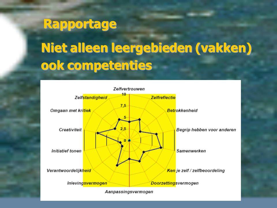 Niet alleen leergebieden (vakken) ook competenties Rapportage
