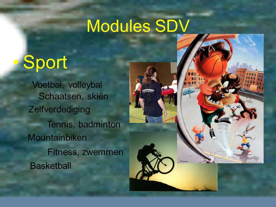 Modules SDV Sport Basketball Voetbal, volleybal Fitness, zwemmen Tennis, badminton Zelfverdediging Mountainbiken Schaatsen, skiën