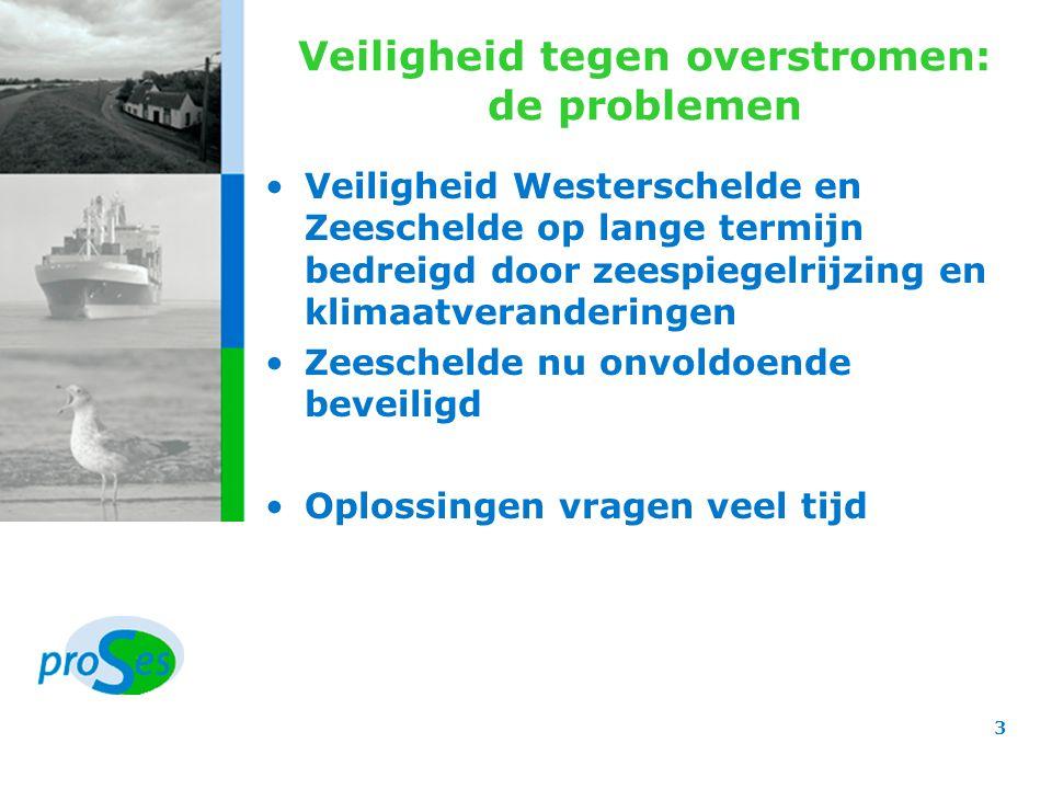 Veiligheid tegen overstromen: de besluiten Oplossing voor Zeeschelde door actualisering van Vlaams Sigmaplan Ruimte voor de rivier en dijk- verhogingen als oplossingsrichtingen Overschelde geen optie Stormvloedkering te Oosterweel tot 2050 geen optie GOG's maximaal gecombineerd met natuurontwikkeling –2000 à 3000 ha extra GOG of GGG langs Zeeschelde Hedwige-, Prosper-, en Doelpolder: 1000 ha Tussen Rupel- en Dendermonding: 1000 à 2000 ha Zennemonding: 250 ha –2500 à 4500 ha extra overstromingsgebieden merendeels in Rupelbekken voor opvang bovenstroomse afvoer 4