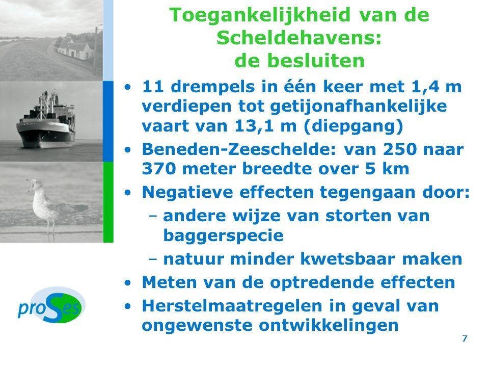 Toegankelijkheid van de Scheldehavens: de overwegingen Baten voor zowel Vlaanderen als Nederland Zeebrugge en Vlissingen blijken geen alternatief voor verruimen Negatieve effecten van verdiepen gering, mits andere stortstrategie Omgaan met onzekerheden Externe veiligheid niet in het gedrang 8