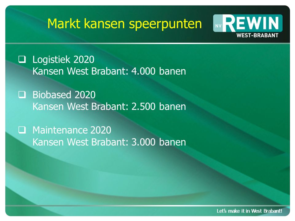Let's make it in West Brabant. Markt kansen speerpunten Let's make it in West Brabant.