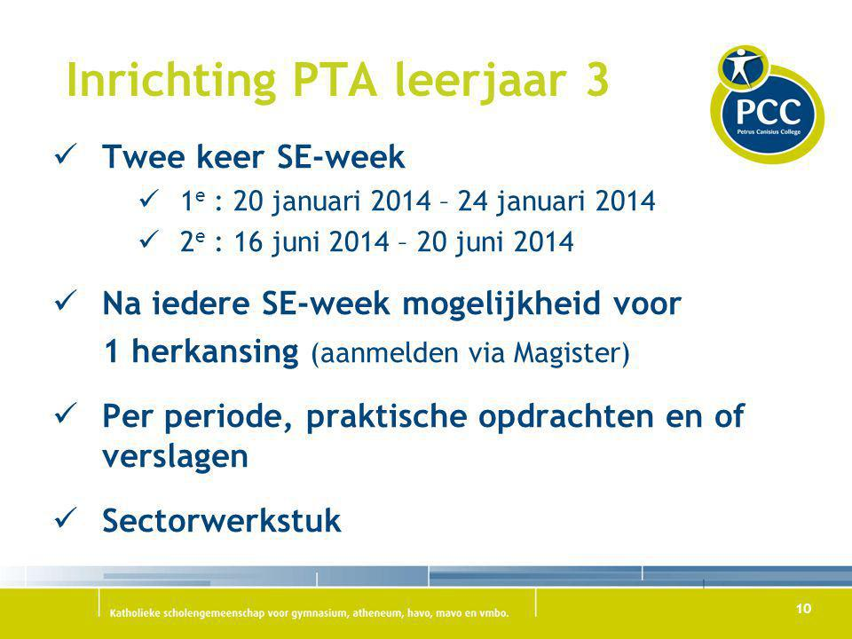 10 Inrichting PTA leerjaar 3 Twee keer SE-week 1 e : 20 januari 2014 – 24 januari 2014 2 e : 16 juni 2014 – 20 juni 2014 Na iedere SE-week mogelijkhei