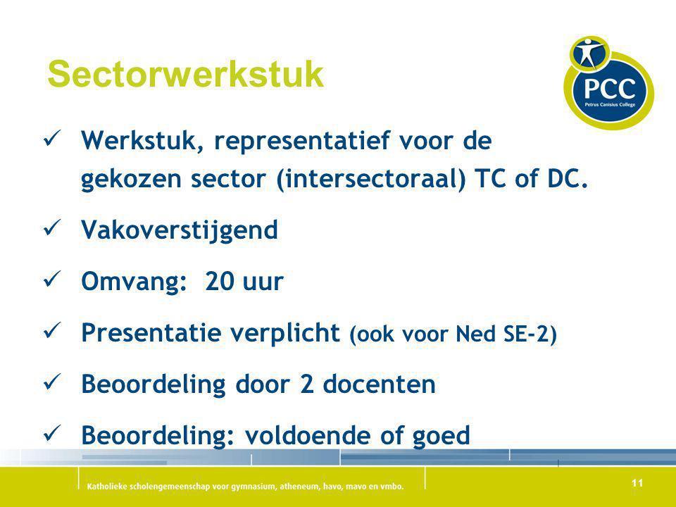 11 Sectorwerkstuk Werkstuk, representatief voor de gekozen sector (intersectoraal) TC of DC. Vakoverstijgend Omvang: 20 uur Presentatie verplicht (ook