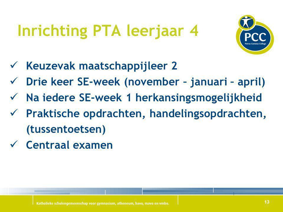 13 Inrichting PTA leerjaar 4 Keuzevak maatschappijleer 2 Drie keer SE-week (november – januari – april) Na iedere SE-week 1 herkansingsmogelijkheid Pr