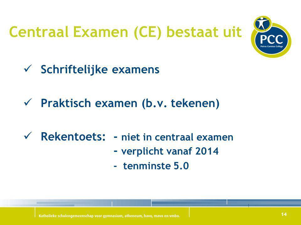14 Centraal Examen (CE) bestaat uit Schriftelijke examens Praktisch examen (b.v. tekenen) Rekentoets: - niet in centraal examen - verplicht vanaf 2014