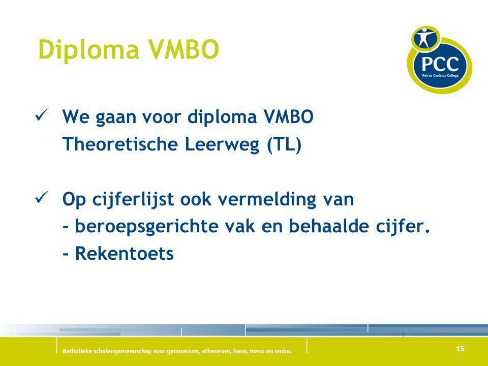 15 Diploma VMBO We gaan voor diploma VMBO Theoretische Leerweg (TL) Op cijferlijst ook vermelding van - beroepsgerichte vak en behaalde cijfer. - Reke