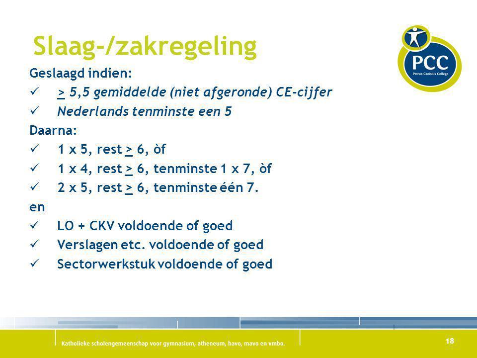 18 Slaag-/zakregeling Geslaagd indien: > 5,5 gemiddelde (niet afgeronde) CE-cijfer Nederlands tenminste een 5 Daarna: 1 x 5, rest > 6, òf 1 x 4, rest