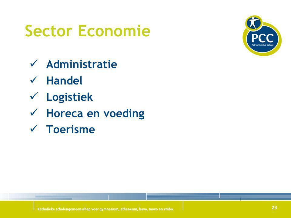 23 Sector Economie Administratie Handel Logistiek Horeca en voeding Toerisme