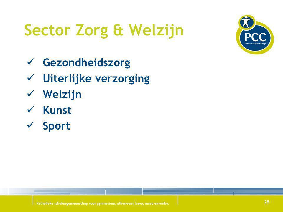 25 Sector Zorg & Welzijn Gezondheidszorg Uiterlijke verzorging Welzijn Kunst Sport